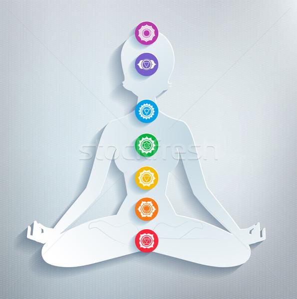 Meditatie vrouwelijke silhouet kunst ruimte regenboog Stockfoto © Sonya_illustrations