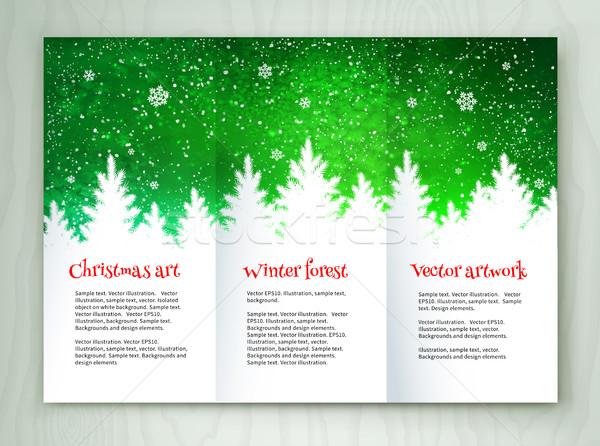 Karácsony fehér zöld prospektus terv design sablon Stock fotó © Sonya_illustrations