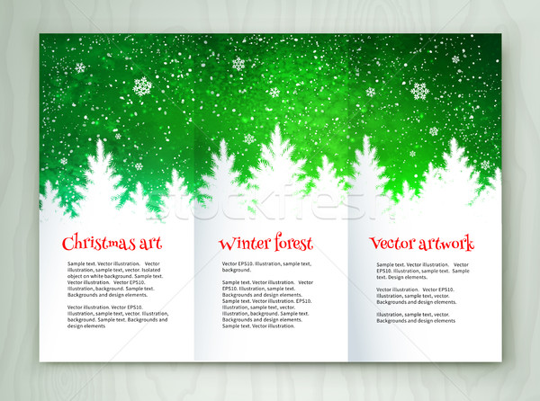 Navidad blanco verde folleto diseno plantilla de diseño Foto stock © Sonya_illustrations