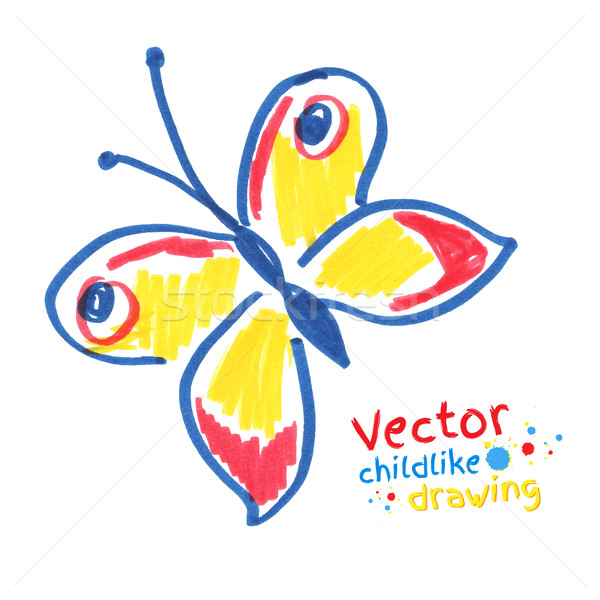 Childlike drawing of butterfly.  Stock photo © Sonya_illustrations