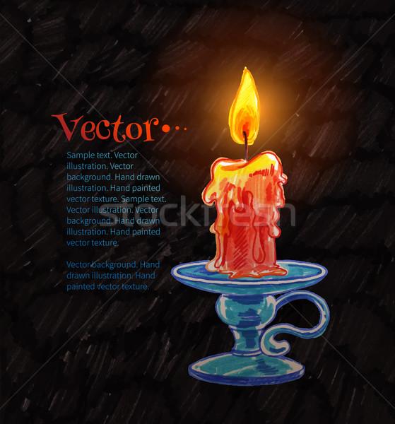 Burning candle. Stock photo © Sonya_illustrations