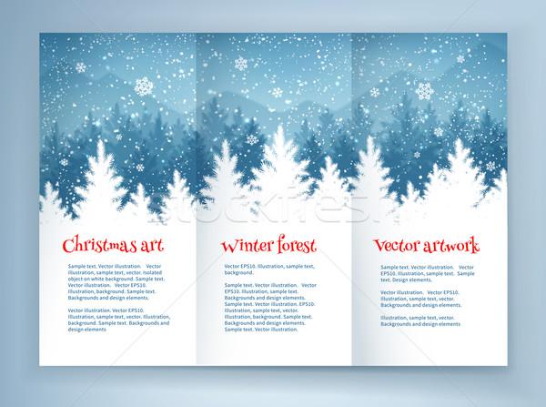 Noel broşür dizayn tasarım şablonu kış ladin Stok fotoğraf © Sonya_illustrations