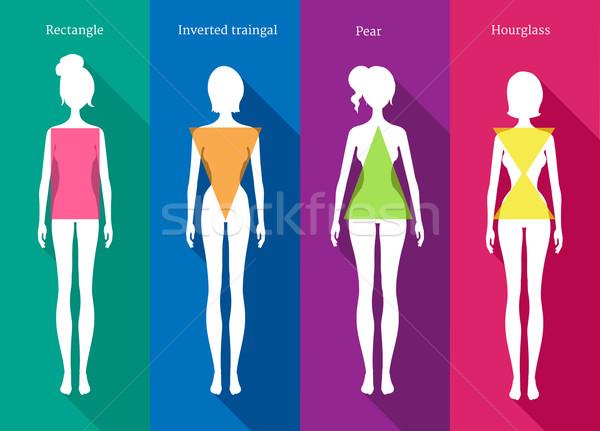 Femenino cuerpo vector ilustraciones blanco siluetas Foto stock © Sonya_illustrations