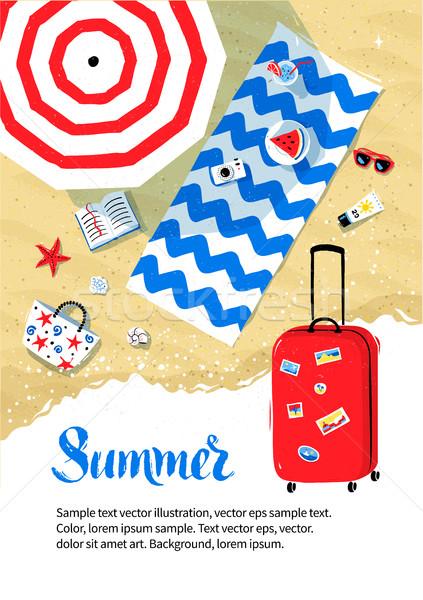 Foto stock: Aviador · projeto · vermelho · viajar · saco · férias · de · verão