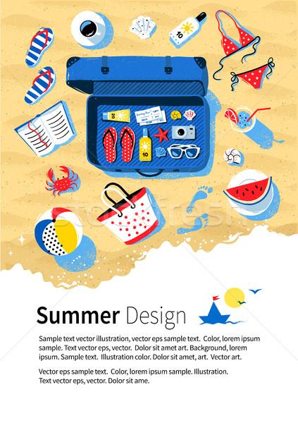 Verão beira-mar férias projeto azul abrir Foto stock © Sonya_illustrations