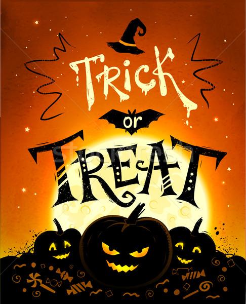 Truco halloween anunciante calabazas luna llena Foto stock © Sonya_illustrations