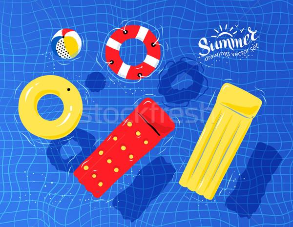 Medence játékok lebeg víz gumi gyűrű Stock fotó © Sonya_illustrations