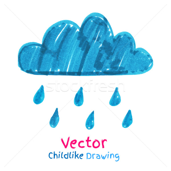 Childlike drawing of rainy cloud.  Stock photo © Sonya_illustrations