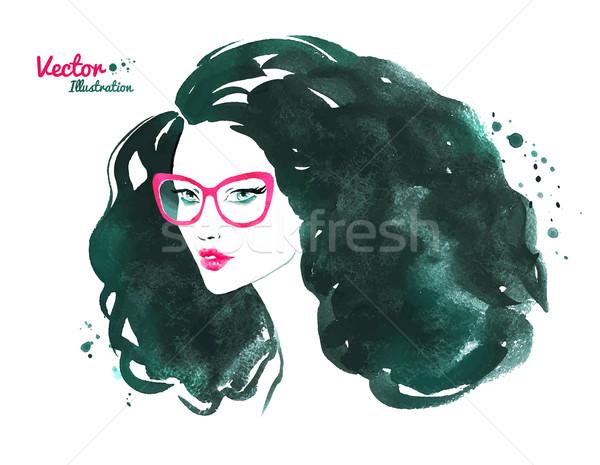 Portré fiatal nő divat vízfesték visel szemüveg Stock fotó © Sonya_illustrations