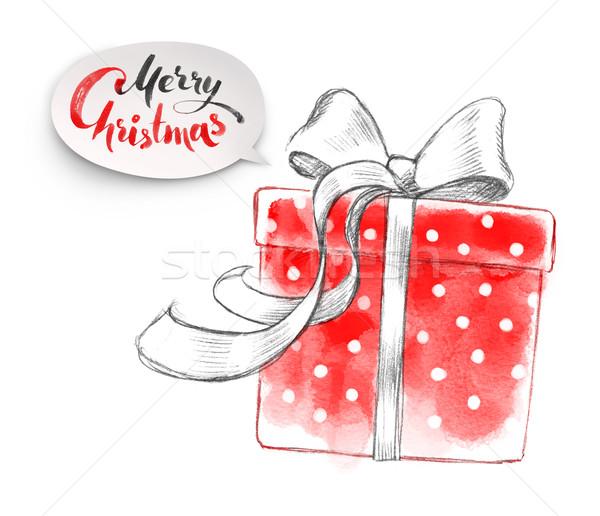 Foto stock: Ilustración · Navidad · dibujado · a · mano · lápiz · acuarela · arte