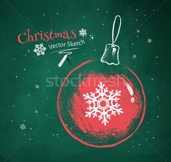 Christmas bal sneeuwvlok Rood witte krijt Stockfoto © Sonya_illustrations
