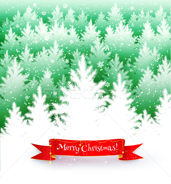 Tél tájkép képeslap zuhan hó lucfenyő Stock fotó © Sonya_illustrations