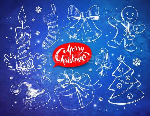 Christmas set on dark blue background Stock photo © Sonya_illustrations