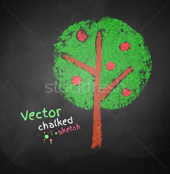 Tekening appelboom kinderen kunst groene zwarte Stockfoto © Sonya_illustrations