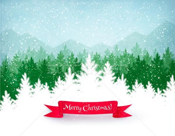 Tél tájkép karácsony zuhan hó zöld Stock fotó © Sonya_illustrations