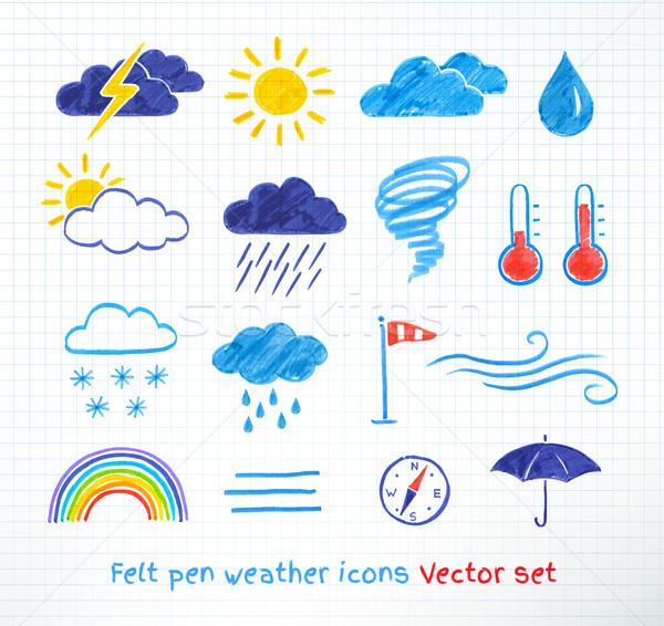Weather icons vector set. Stock photo © Sonya_illustrations