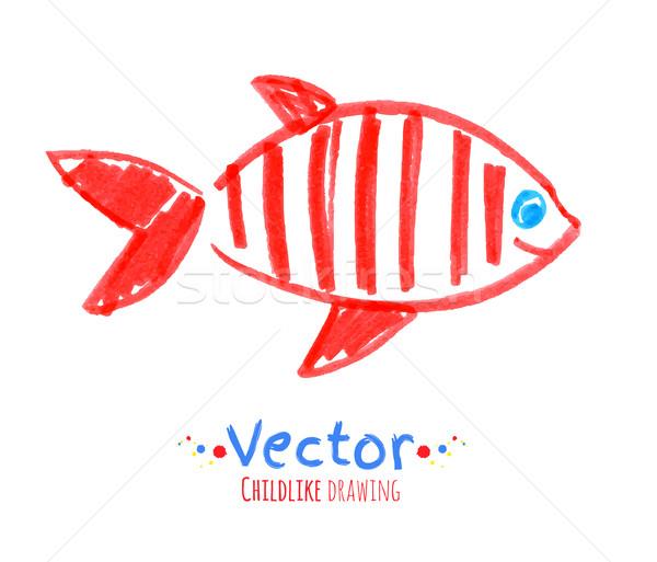 Felt pen childlike drawing of fish. Stock photo © Sonya_illustrations