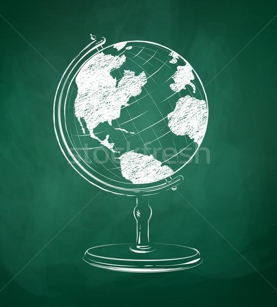 Földgömb rajzolt zöld tábla vektor kréta Stock fotó © Sonya_illustrations