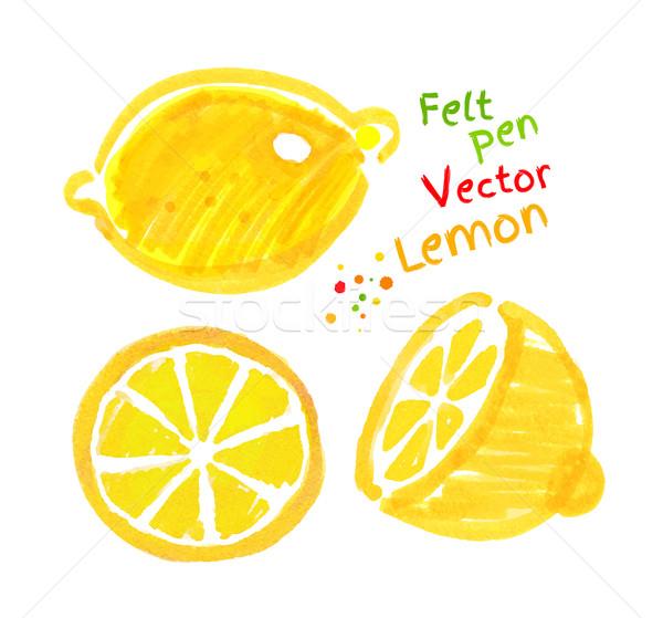 Childlike drawing of lemon. Stock photo © Sonya_illustrations