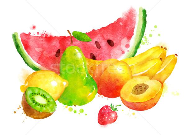 Csendélet gyümölcsök kézzel rajzolt vízfesték illusztráció festék Stock fotó © Sonya_illustrations