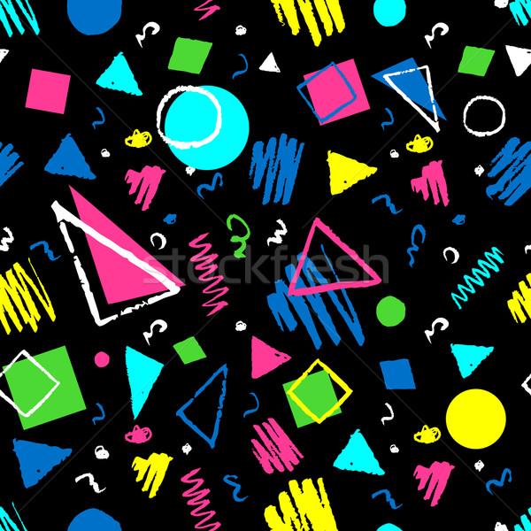 Sötét végtelenített geometrikus minta mértani 1980-as évek minta Stock fotó © Sonya_illustrations