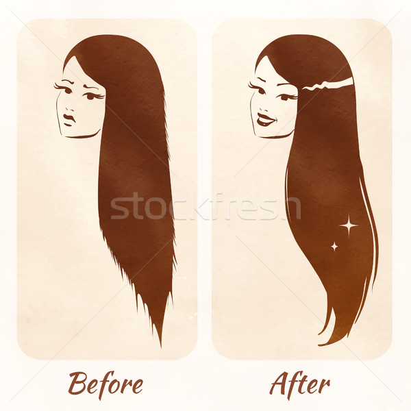 Hair before and after. Stock photo © Sonya_illustrations