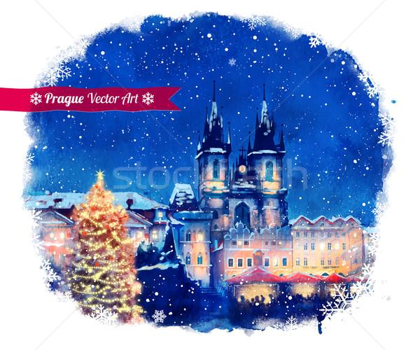 Christmas Prague. Stock photo © Sonya_illustrations