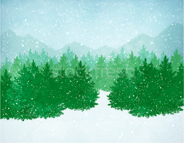 Winter landscape with falling snow Stock photo © Sonya_illustrations