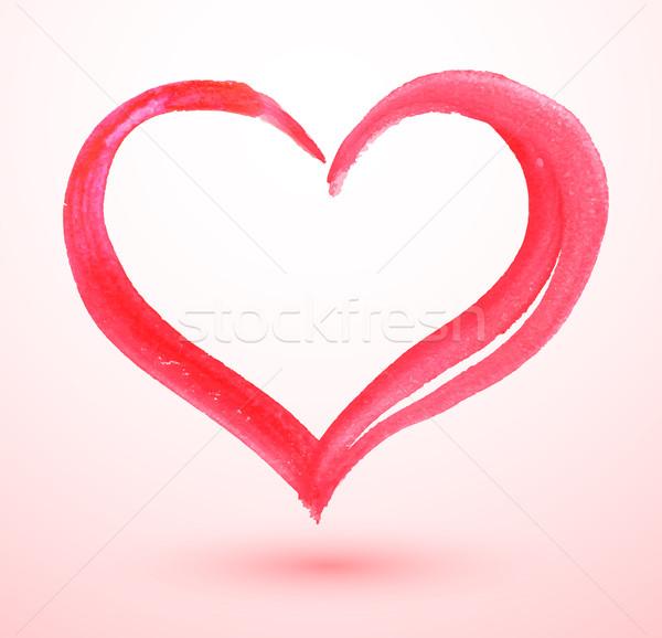 Watercolor Valentine heart. Stock photo © Sonya_illustrations
