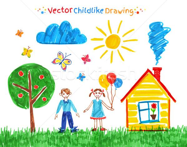 Gyermek rajzok vektor szett toll ház Stock fotó © Sonya_illustrations