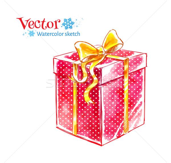 Ajándék doboz vízfesték művészet vektor illusztráció textúra Stock fotó © Sonya_illustrations
