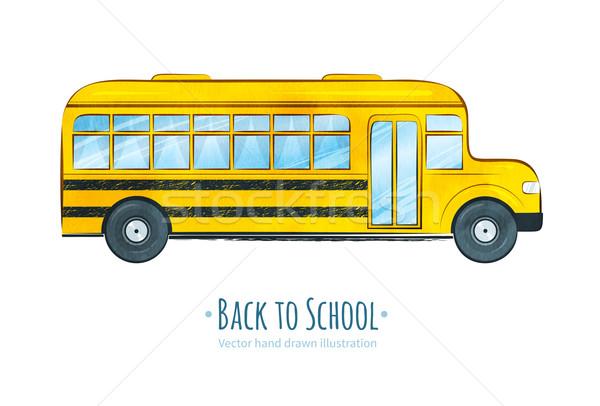 スクールバス 手描き テクスチャ 子供 背景 教育 ストックフォト © Sonya_illustrations