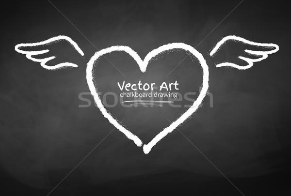 Kréta rajzolt szív szárnyak iskolatábla szeretet Stock fotó © Sonya_illustrations