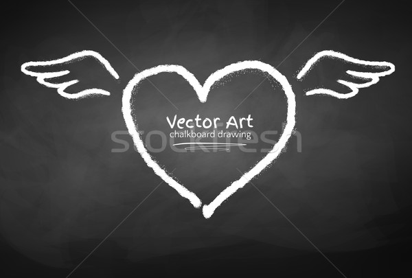 Tiza corazón alas pizarra amor Foto stock © Sonya_illustrations