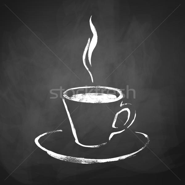 Кубок кофе пар рисованной эскиз доске Сток-фото © Sonya_illustrations