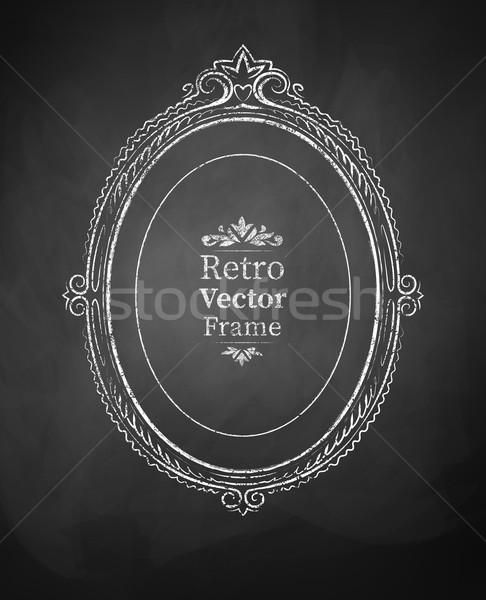 Vintage barroco quadro oval arte preto Foto stock © Sonya_illustrations