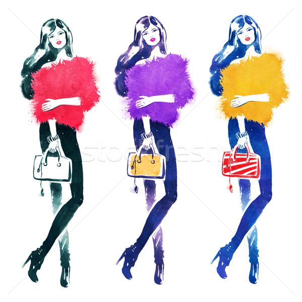 Divat modell táska kézzel rajzolt vízfesték szett Stock fotó © Sonya_illustrations
