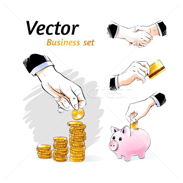 Foto stock: Vector · negocios · establecer · conceptos · dinero · signo