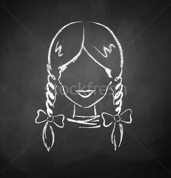 Vrouwelijke avatar schoolbord tekening vrouwen achtergrond Stockfoto © Sonya_illustrations