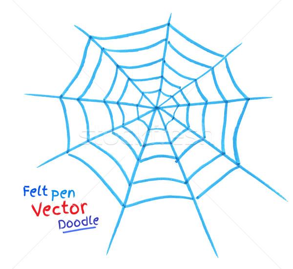 örümcek ağı kalem çizim soyut renk örümcek Stok fotoğraf © Sonya_illustrations
