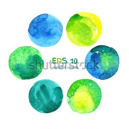 Suluboya afişler renkli circles vektör Stok fotoğraf © Sonya_illustrations