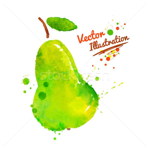 Vert poire vecteur couleur pour aquarelle dessinés à la main illustration Photo stock © Sonya_illustrations