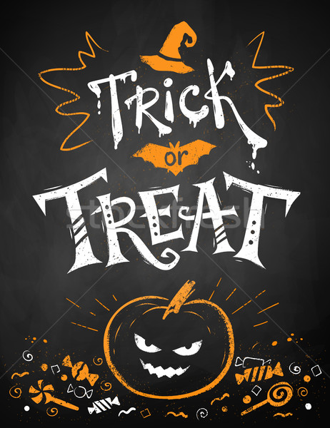 Hile halloween poster beyaz turuncu Stok fotoğraf © Sonya_illustrations