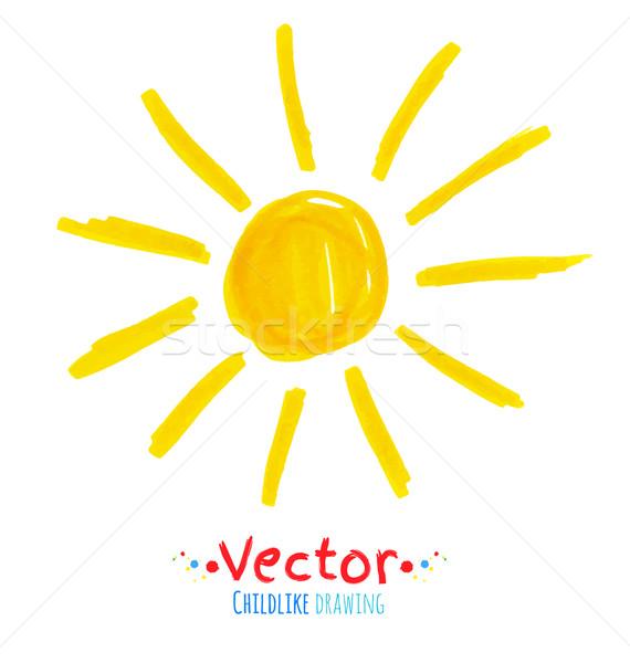 Güneş vektör kalem çizim soyut renk Stok fotoğraf © Sonya_illustrations