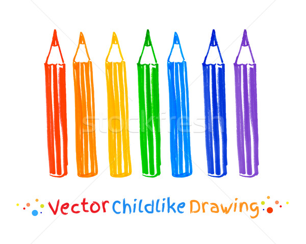 Childlike drawing of pencils.  Stock photo © Sonya_illustrations