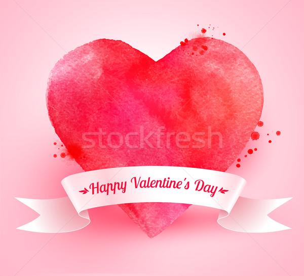 Valentin nap szív szalag szalag vízfesték festék Stock fotó © Sonya_illustrations
