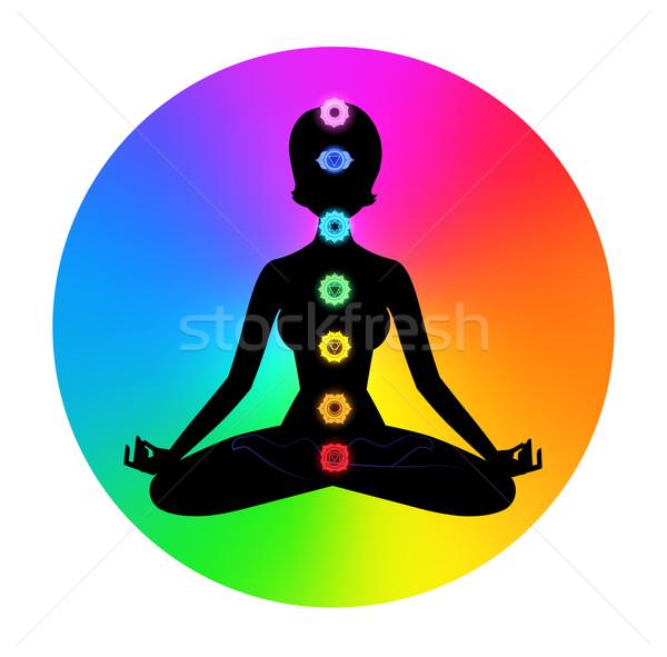 Nő meditáció női sziluett egészség háttér Stock fotó © Sonya_illustrations