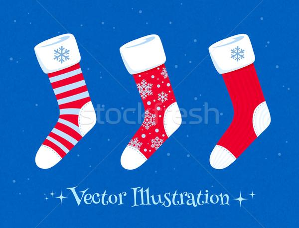Noël chaussettes texture résumé design Photo stock © Sonya_illustrations