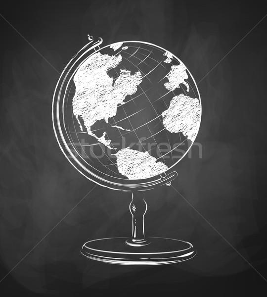 Földgömb rajzolt tábla textúra térkép világ Stock fotó © Sonya_illustrations
