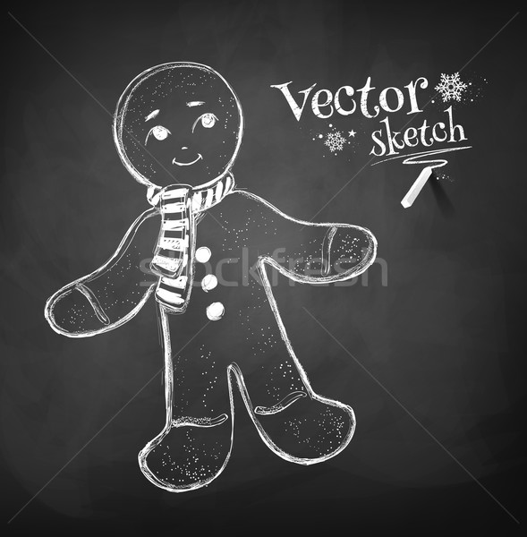 Gingerbread man tableau dessin texture alimentaire homme Photo stock © Sonya_illustrations